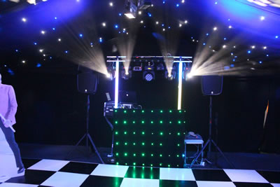 Disco Inferno setup in a marquee