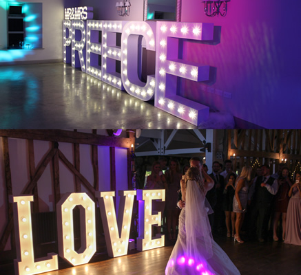 Disco Inferno Love Letters Top customised letters and botton standard Love letters