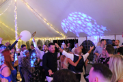 Wedding Crowd at Eastlands Farm with Disco Inferno